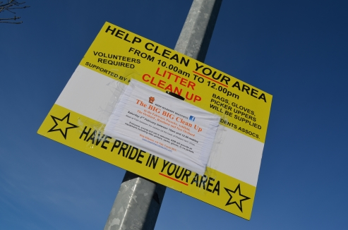"Signs advertising the ""Big Big clean up"" were erected through out the area. Copyright: Keep Kilkenny Beautiful"