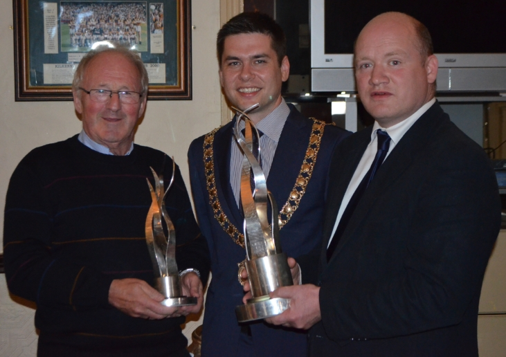 Mayor Andrew McGuinness with Sean Leahy and David Fitzgerald  at the KKB welcome home celebration