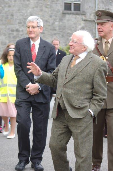 President Higgins on arrival at Kilkenny Castle