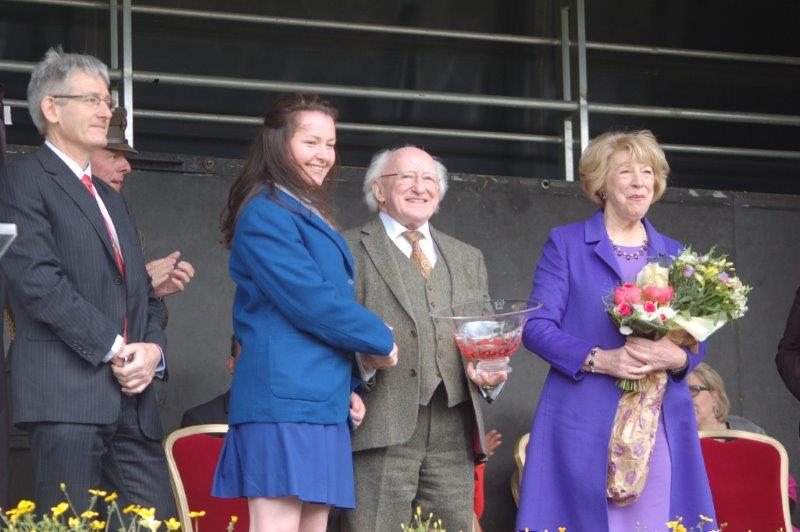 Presentation to President Higgins of Jerpoint Crystal Bowl by Thea Harte