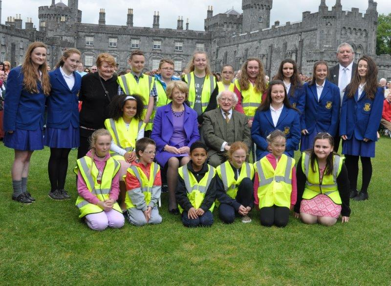 Junior Litter Wardens from Newpark Close Estate and Loreto Lane Project Girls with President Higgins and Sabina Higgins