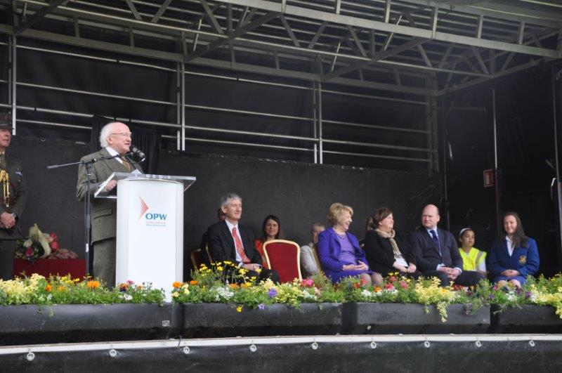 President Higgins speaks to the assembled crowd