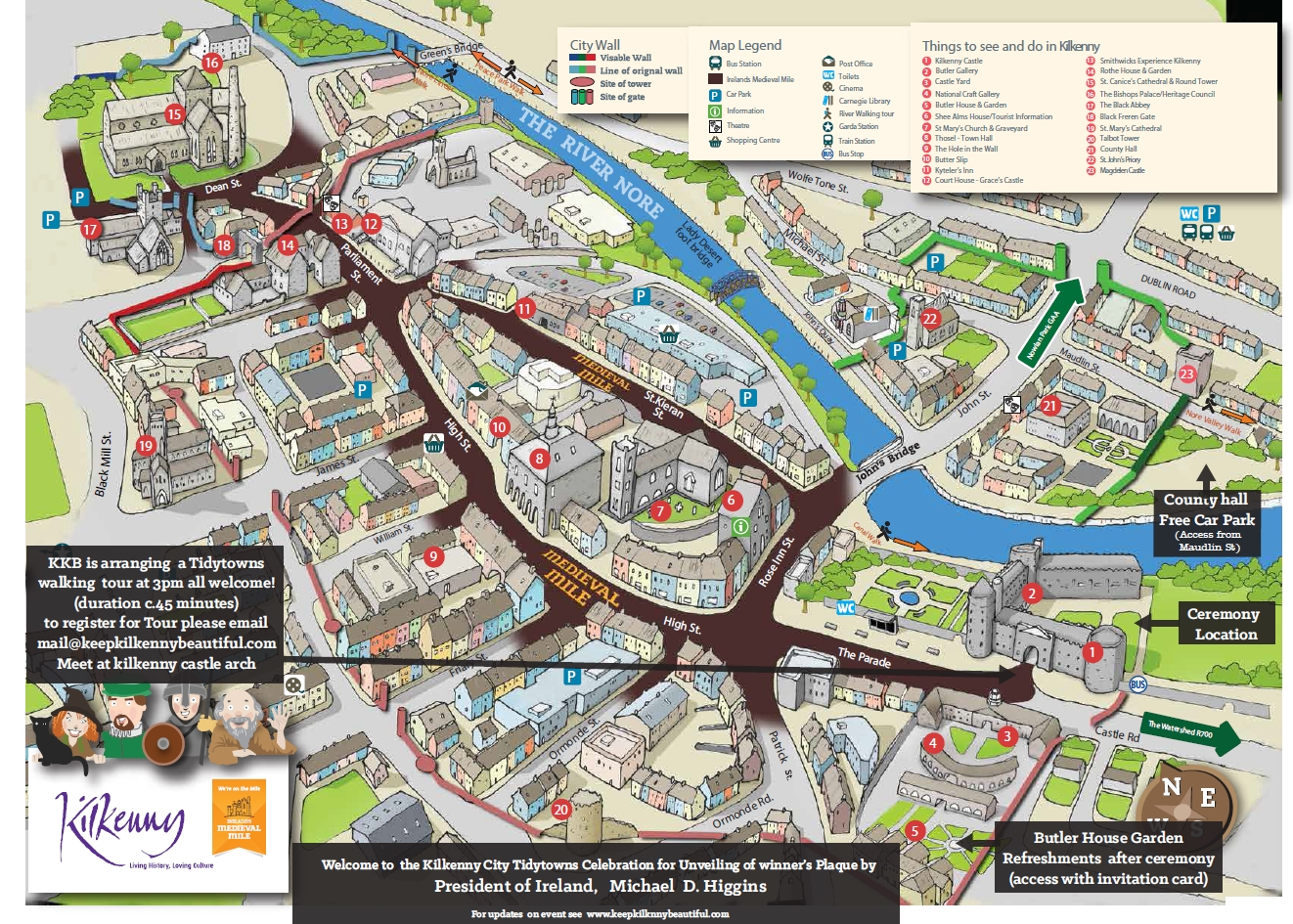 City plan showing location of presentation at Kilkenny Castle