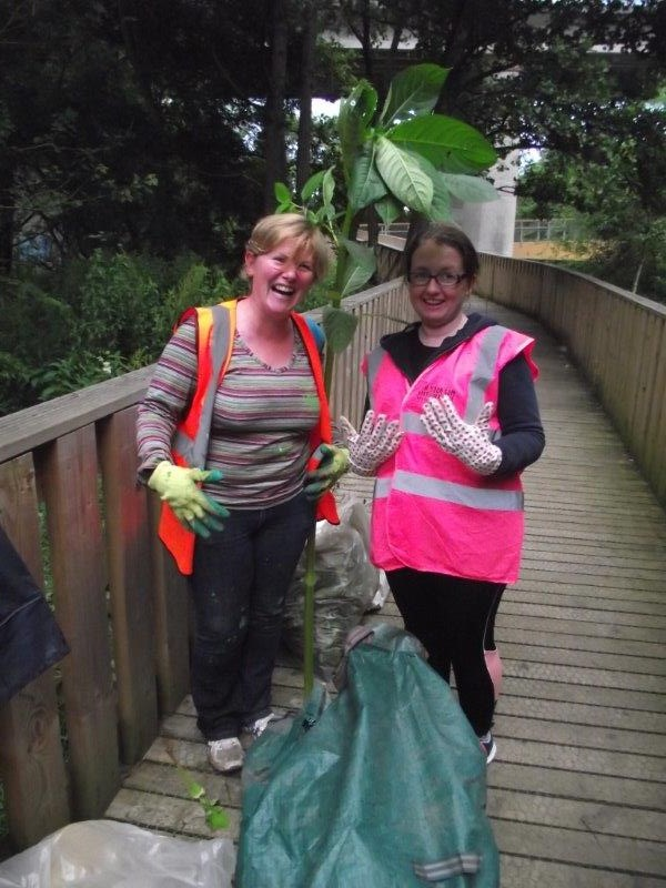 Bernadette MoloneyEnvironmental Awareness Officer with Regina Byrne Hon Secretary KKB with a large balsam plant